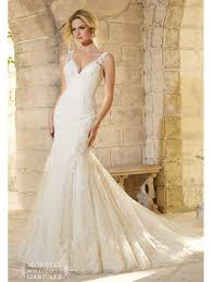 mori lee 2773 lace straps fitted wedding dress light gold