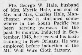 George Henry Washington Hale served in the South Pacific - Newspapers.com
