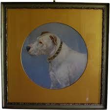 antique oil painting bull terrier dog named