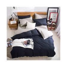 ab side bedding set super king duvet cover set dark blue beige 4pcs bedclothes bed set man duvet flat sheet 230x250cm color a size spuper king