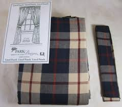country navy barn red tan plaid freedom lined cotton curtain panels 72x63 parkdesigns country