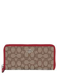 coach ny zip around logo all over wallet beige red women accessories,coach  handbags