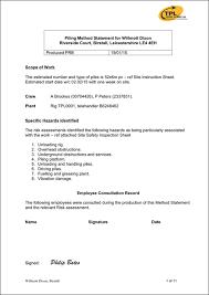 Method Of Statement Sample Sample Method Statement TPL Mini Piling Specialists UK Northwest 4