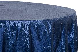 glitz sequins 108 round tablecloth navy blue
