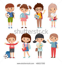 set of kids characters boys and s with backpack and book cute and simple