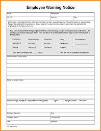 Employee Warning Notice Sample Employee Notice Form Examples In