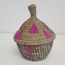 woven basket with lid. Small Pink And Natural African Woven Basket With Lid R