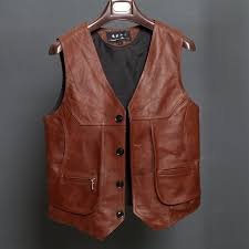 bonjean new arrival leather motorcycle vest mens slim fit real brown cow genuine leather waistcoat bikers