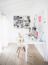 home office shared desk idea modern. Feminine Office Space With Pops Of Pastel Colors, And Sheep Throws Over Mod White Chairs Home Shared Desk Idea Modern