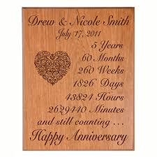 personalized 5th wedding anniversary wall plaque gifts for couple custom 5 year anniversary gift ideas for her 5th year wedding anniversary gifts for him
