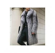 aacfchain mens luxury winter warm faux fur long jacket thicken notched outerwear overcoat
