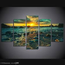 ku canvas wall art for 2018 framed hd printed sunset beach rocks picture wall art canvas