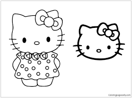 Free, printable hello kitty coloring pages, party invitations, activity sheets and paper crafts for hello kitty fans the world over! Hello Kitty With Face Mask Coloring Pages Cartoons Coloring Pages Free Printable Coloring Pages Online
