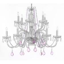 harrison lane empress 12 light crystal chandelier with pink crystals