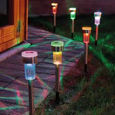 Colour Changing Solar Garden Lights Set Of 6 Colour Changing Solar Stake Lights