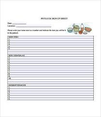 food sign up sheet potluck signup sheet template free download