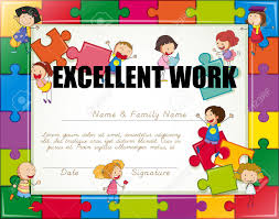 Kids Certificate Border Certificate With Children Jigsaw Border