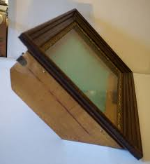 antique large deep wood glass shadow box picture frame