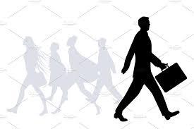 Silhouettes Of People Walking Ii