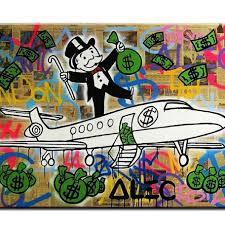 fly alec monopoly graffiti mr brainwashart print canvas for wall art decoration no framed 60x80cm on graffiti wall art bedroom with fly alec monopoly graffiti mr brainwashart print canvas for wall art