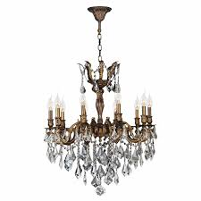 bronze and crystal chandelier. W83340B26 Versailles 10 Light Antique Bronze Finish And Clear Crystal Chandelier D