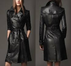 details about womens leather trench coat parka mid long knee length coat jacket with belt