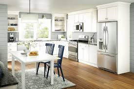 installing crown molding kraftmaid kitchen cabinets new merillat basic in birch wesley door style with a
