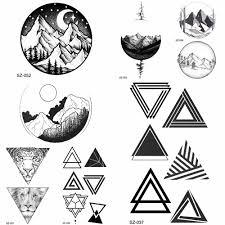 Yuran Diy Falešné Geometrický Trojúhelník Tetování ženy Hip Hop