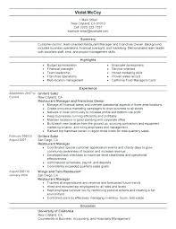 Examples Of Restaurant Resumes Extraordinary Resume Examples For Restaurant Manager Restaurant Manager Resume