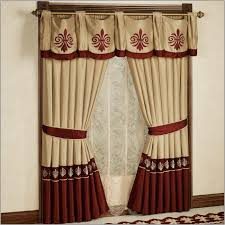 red brown and gold curtains
