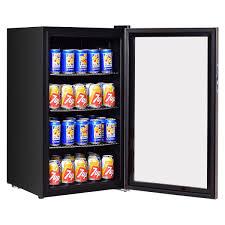 costway 120 can beverage refrigerator beer wine soda drink cooler mini fridge glass door 0