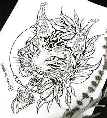эскиз татуировки с рысью пирография идеи для татуировок
