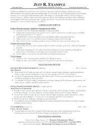 Sample Resume Objectives For Food Service