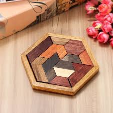 diy 9pcs wooden iq game jigsaw intelligent tangram brain teaser puzzle kids toys cod