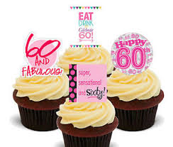 60th Birthday Female Edible Cupcake Toppers Stand Up Cake