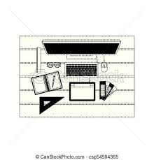 office drawing tools. Desktop Computer And Drawing Tools Over Desk On Top View In Black Dotted Contour - Csp54504365 Office G