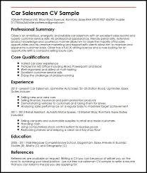Car Sales Cv Template Uk Templates Resume Examples