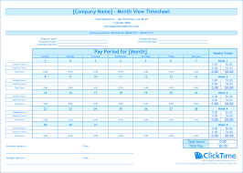 Excel Employee Time Sheet Free Monthly Timesheet Template Clicktime