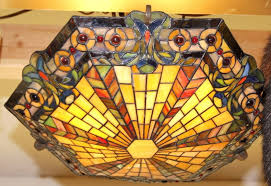 stained glass ceiling light. Image 1 : Kichler Mission Style Stained Glass Ceiling Light