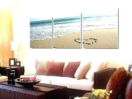 set of 3 canvas wall art piece sets beach painting heart pc