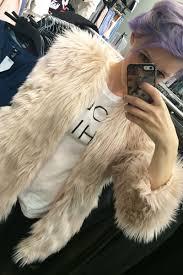 pale pink h and m fur coat