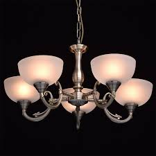 Deckenleuchte Kronleuchter Antik Messingfarbig Glas Klassisch Metall ø60cm 5 Flammig Exkl E27 5x60w 230v