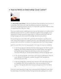 How To Make A Cover Letter For Internship Doc How To Write An Internship Cover Letter Josh Ocloo