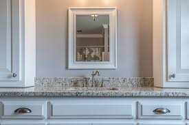 bathroom with gray walls white shaker cabinets and verona granite vanity top