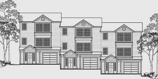 house front color elevation view for t 408 triplex house plans 3 bedroom townhouse