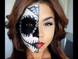 full half sugar skull makeup for or dia de los muertos tutorials by brenda valdez musely