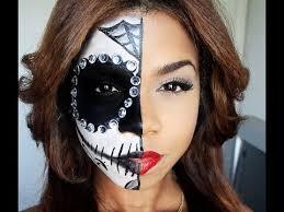 full half sugar skull makeup for or dia de los muertos tutorials by brenda valdez musely
