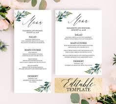 Party Menu Template Greenery Wedding Menu Template Greenery Dinner Party Menu Template Greenery Menu Cards Wedding Menu Template Download Editable Printable