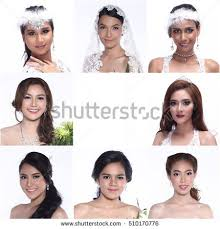 beauty collage of beautiful wedding makeup and hair in difference style and many races in asia