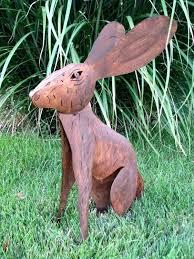 outdoor metal artwork garden art uk jack rabbit yard metal art